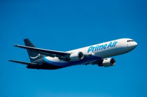 "Amazon unveils its new ""Prime Air"" branded Boeing 767 airplane at Seafair over Lake Washington in Seattle on August 5, 2016. (Photography by Scott Eklund/Red Box Pictures)"
